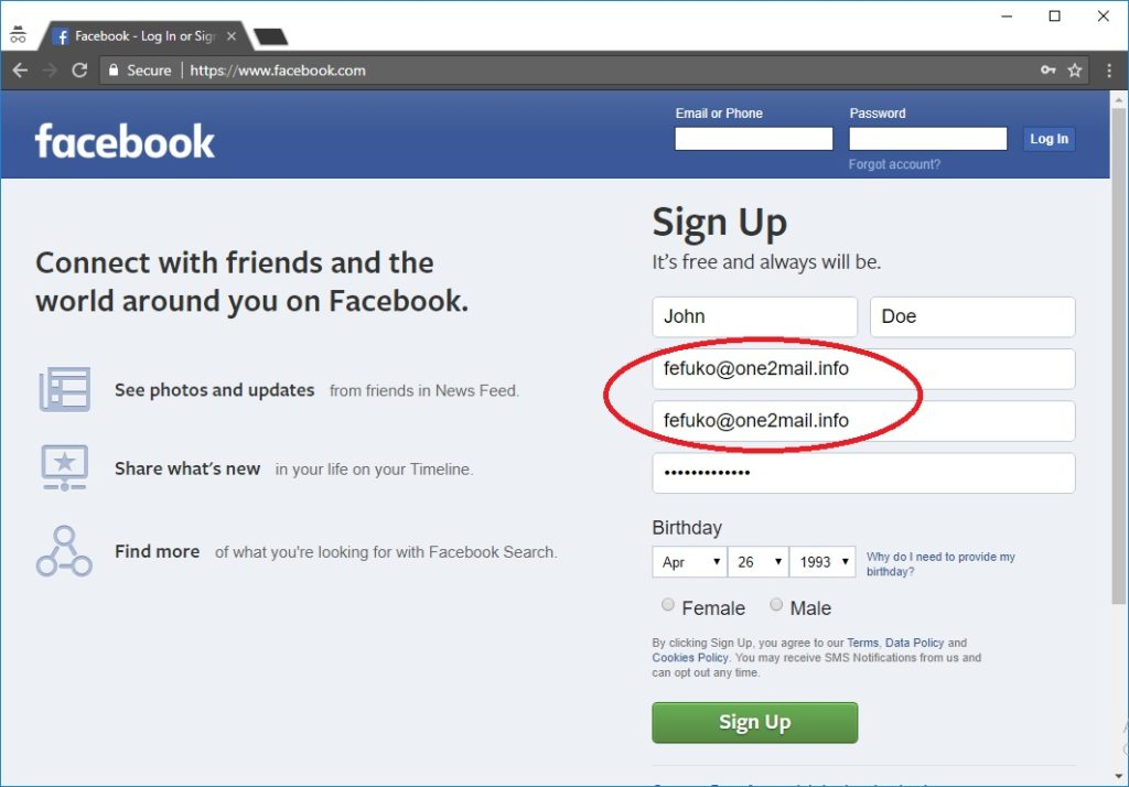 Create a Facebook Account without Phone Number and Email Address