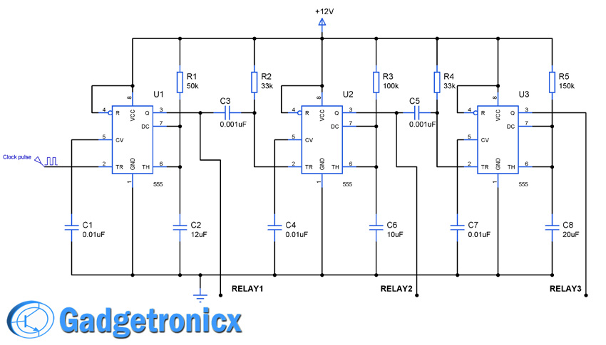 Sequential Timer Circuit using IC 555 to switch relays - Gadgetronicx
