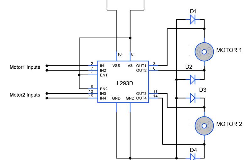 bidirectional motor controller circuit using ic l298 gadgetronicx