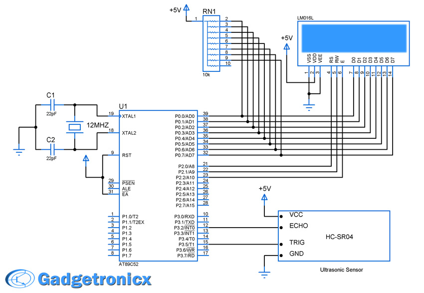 Ultrasonic distance meter using HC-SR04 and 8051 - Gadgetronicx
