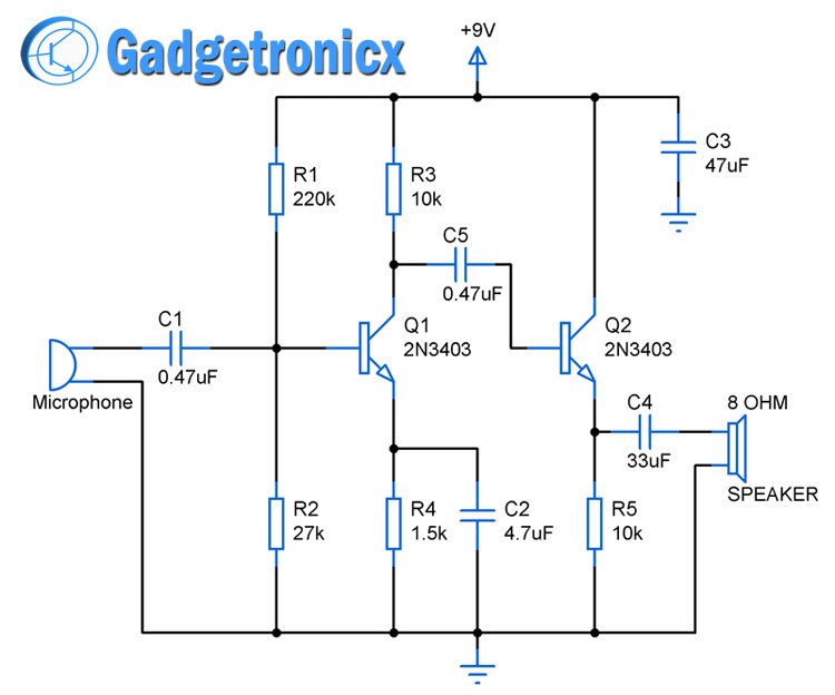 2 Stage Amplifier Circuit using Transistors - Gadgetronicx