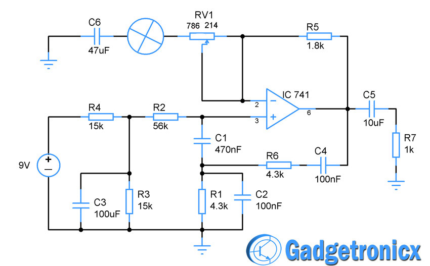 Wien Bridge Oscillator using Opamp - Gadgetronicx