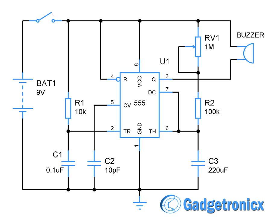 1 to 10 minutes alarm using IC 555 - Gadgetronicx