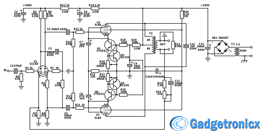 tip41 tip42 amplifier diagram