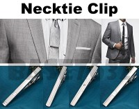 Men Stylish Silver Necktie Neck Tie Bar Clasp Clip Clamp