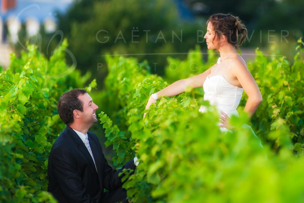 Photos de jeune mariés dans les vignes
