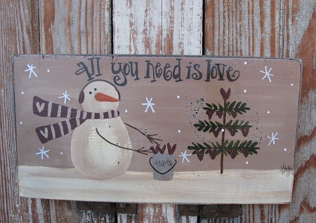 Rustic Fall Desktop Wallpaper Primitive Snowman Hanging Hearts Hand Painted Sign