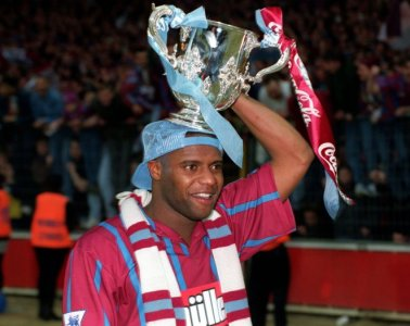 Sport, Football, Coca-Cola Cup Final, Wembley, London, England, 27th March 1994, Aston Villa 3 v Manchester United 1, Aston Villa's Dalian Atkinson celebrates with the League Cup trophy  (Photo by Bob Thomas/Getty Images)