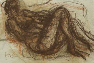 Peter Kaiser // Liegende Zeichnung, Kreide 1997
