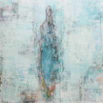 140-140 cm serenity serie Aqua Blue Acrylics on linen and aluminium frame 2017