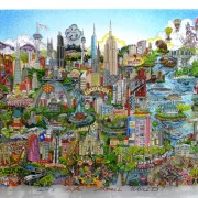 CHARLES FAZZINO, It's a small world, 135 x 74 cm, sérigraphie 3D