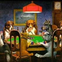 Poker Dogs Playing