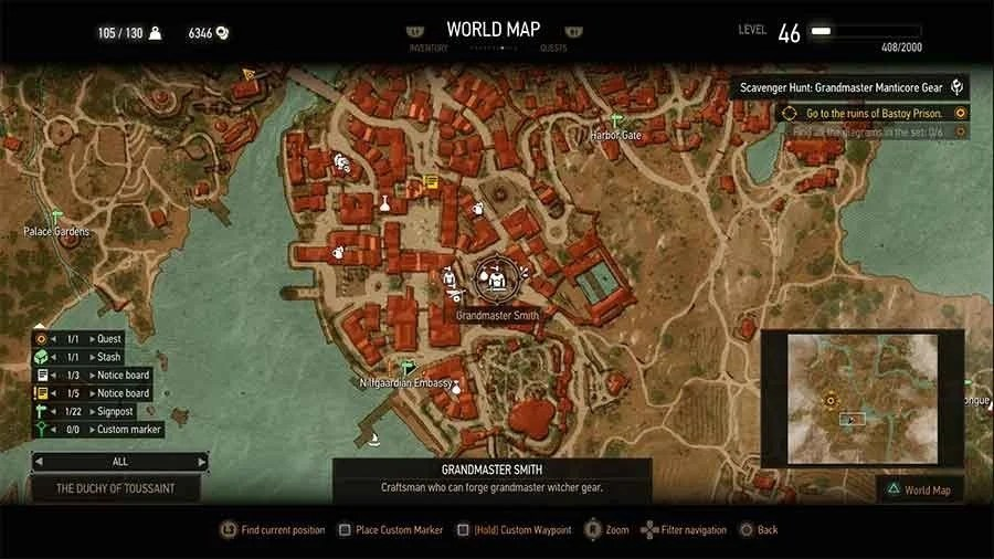 Where To Find All Grandmaster Witcher Gear In The Witcher 3 Blood - best of locate places on world map game