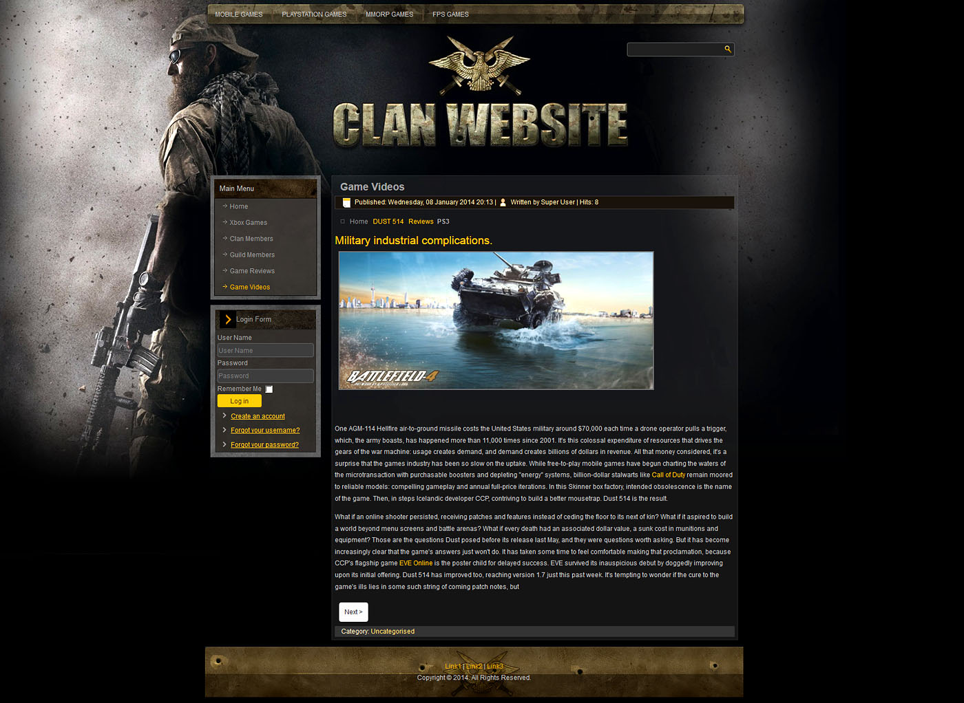 game website layout