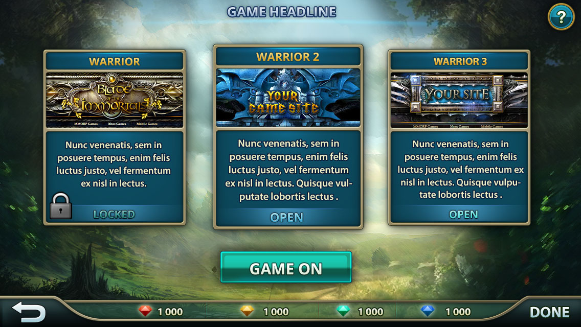 Mobile Game UI Template - video game template