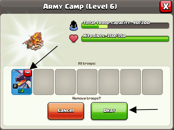 Removing Troops in Clash of Clans
