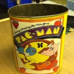 Pac-Man 1980 vintage metal garbage can