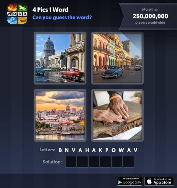 4 Pics 1 Word Daily Puzzle, November 7, 2018 Cuba Answers