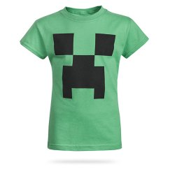 green t-shirt with creeper face on front