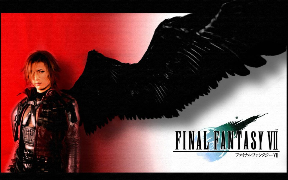 Genesis from Final Fantasy 7 games with a red and white gradiant background - one winged angel, black wing. Has classic Final Fantasy VII Logo