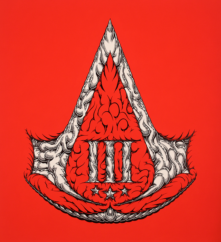 ACIII, 2012 by Mark Dean Veca shows a red background with an ornate white Assassins Creed logo