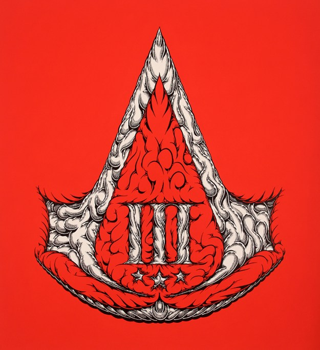 ACIII, 2012 by Mark Dean Veca shows a red background with an ornate Assassin's Creed logo from Assassin's creed 3