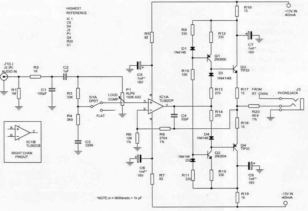 a hiqh quality headphone amplifier schematic
