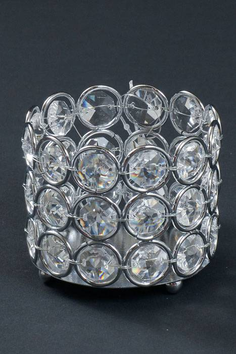3quot X 25quot Crystal Bead Candle Holder Silver Clear