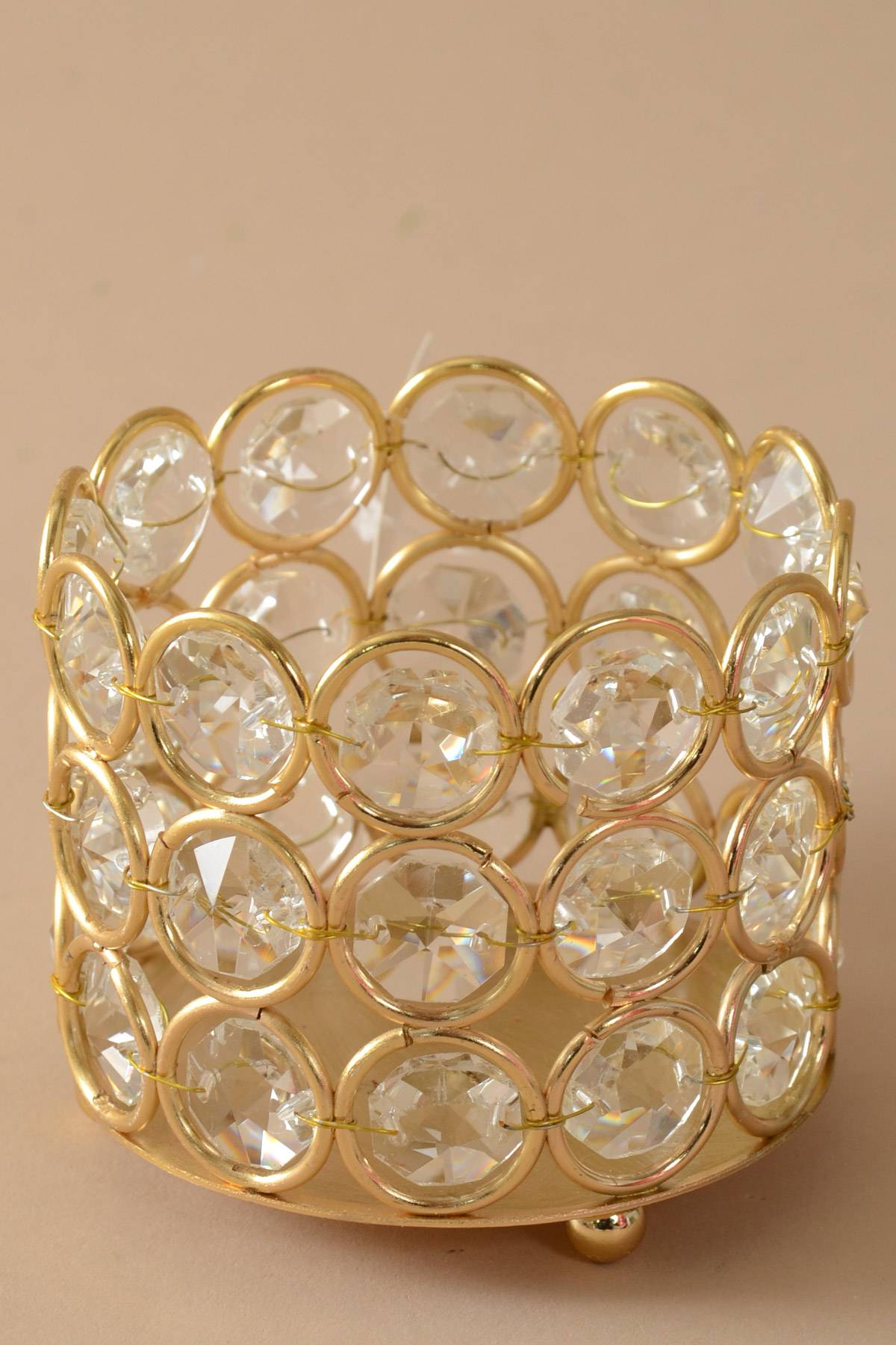 3quot X 25quot Crystal Bead Candle Holder Gold Clear