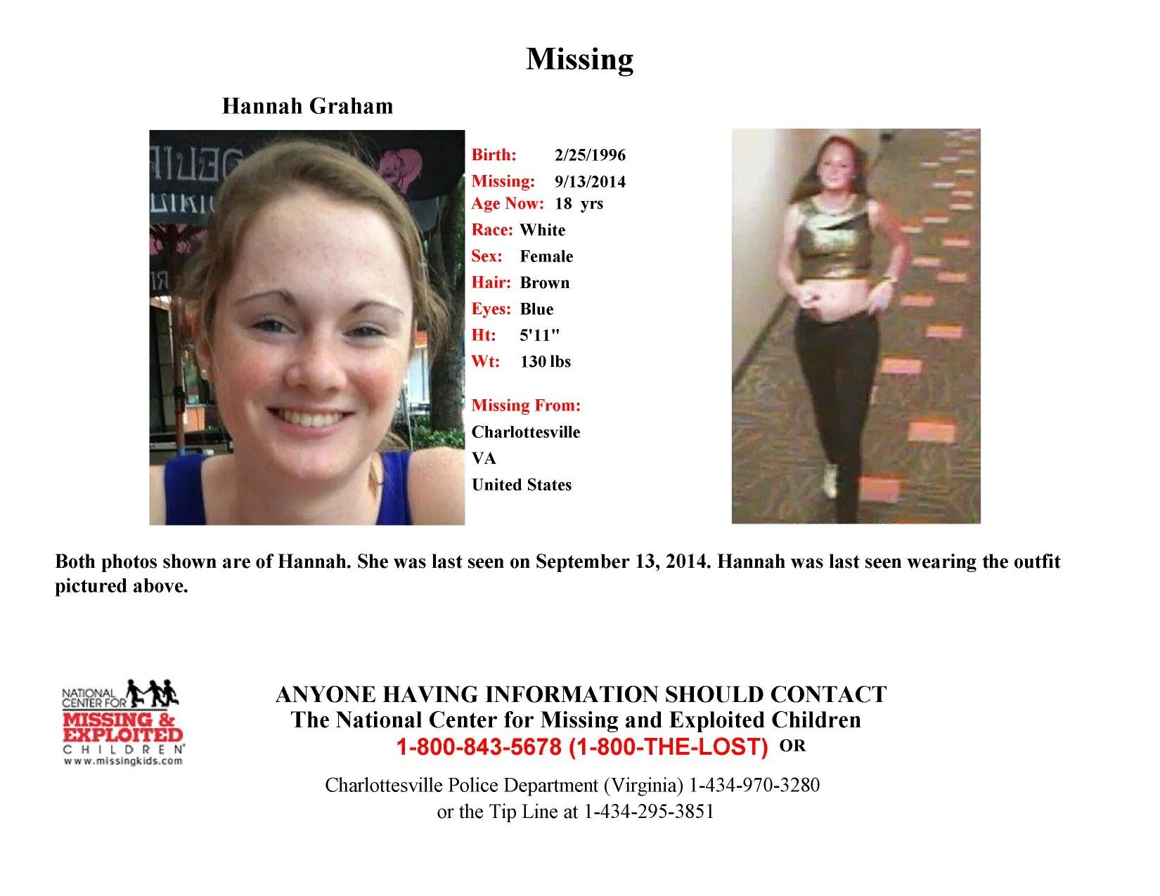 Latest video of missing Va student shows man following - lost person poster