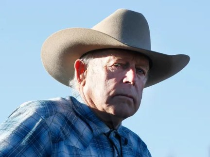 Cliven Bundy rides a horse after attending the funeral
