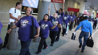 U.S. airport workers stage one-day strike