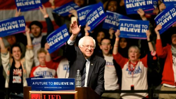 Bernie Sanders speaks at an election rally in Lincoln,