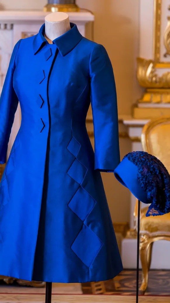 A royal blue coat dress by Sir Norman Hartnell worn