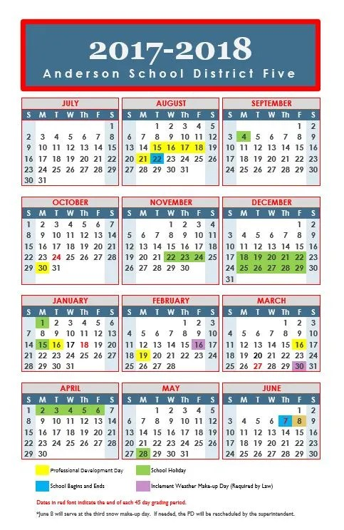 Anderson County school calendar proposed, approved by some - school calendar