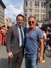 "Paterson Mayor André Sayegh with Bruce Springsteen on the set of ""West Side Story"" in Paterson on Monday, Aug. 19."