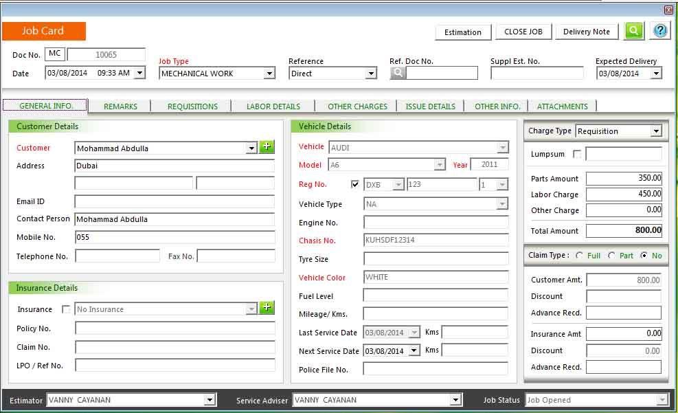 Garage Workshop Software System, Dubai, Abu Dhabi, Sharjah, UAE - job card