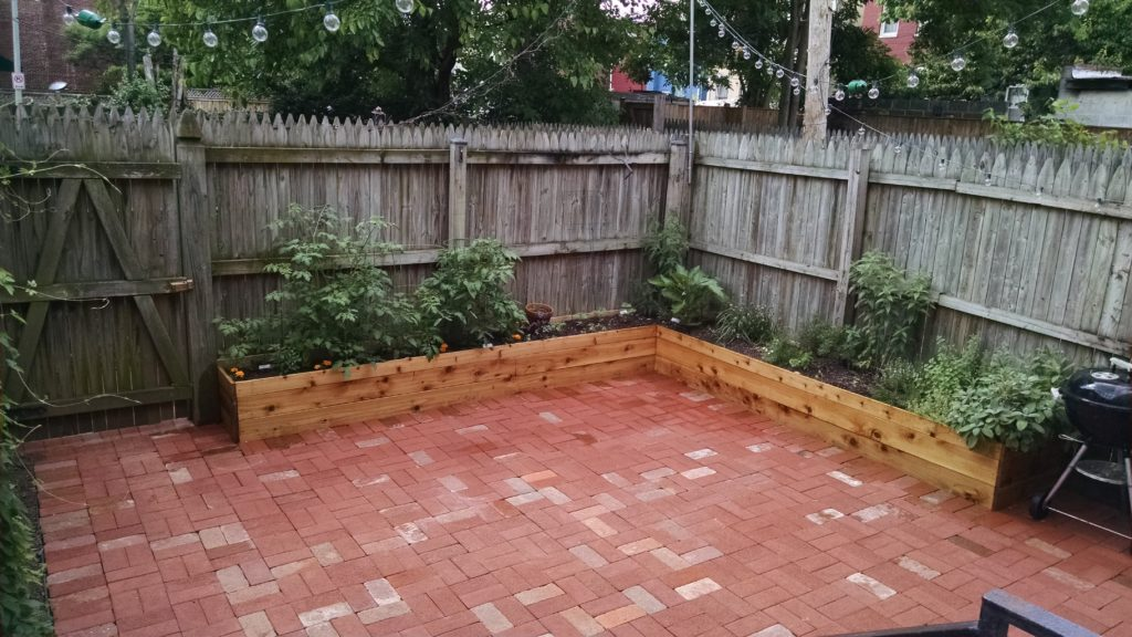 Stone Patio Garden Brick Patio and Cedar Planters