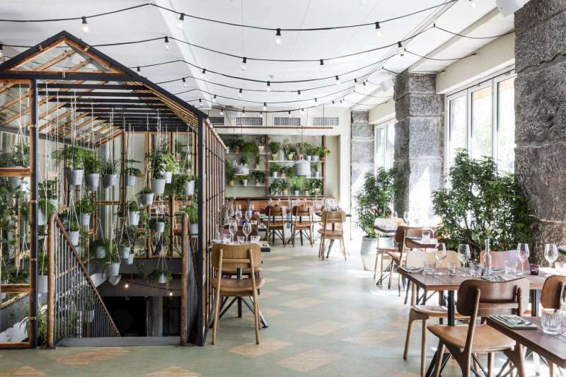 Graceful A Greenhouse Restaurant Glass Shelving Came From A Palace