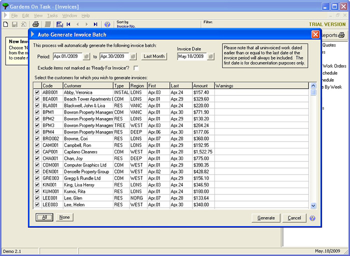 Lawn Maintenance Software by On Task Solutions - generate invoices