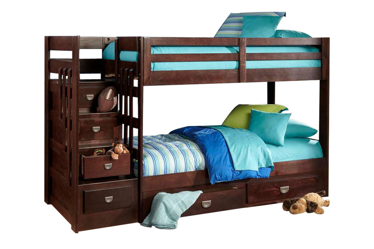 University Twin Stair Storage Bunk Bed With Storage Trundle