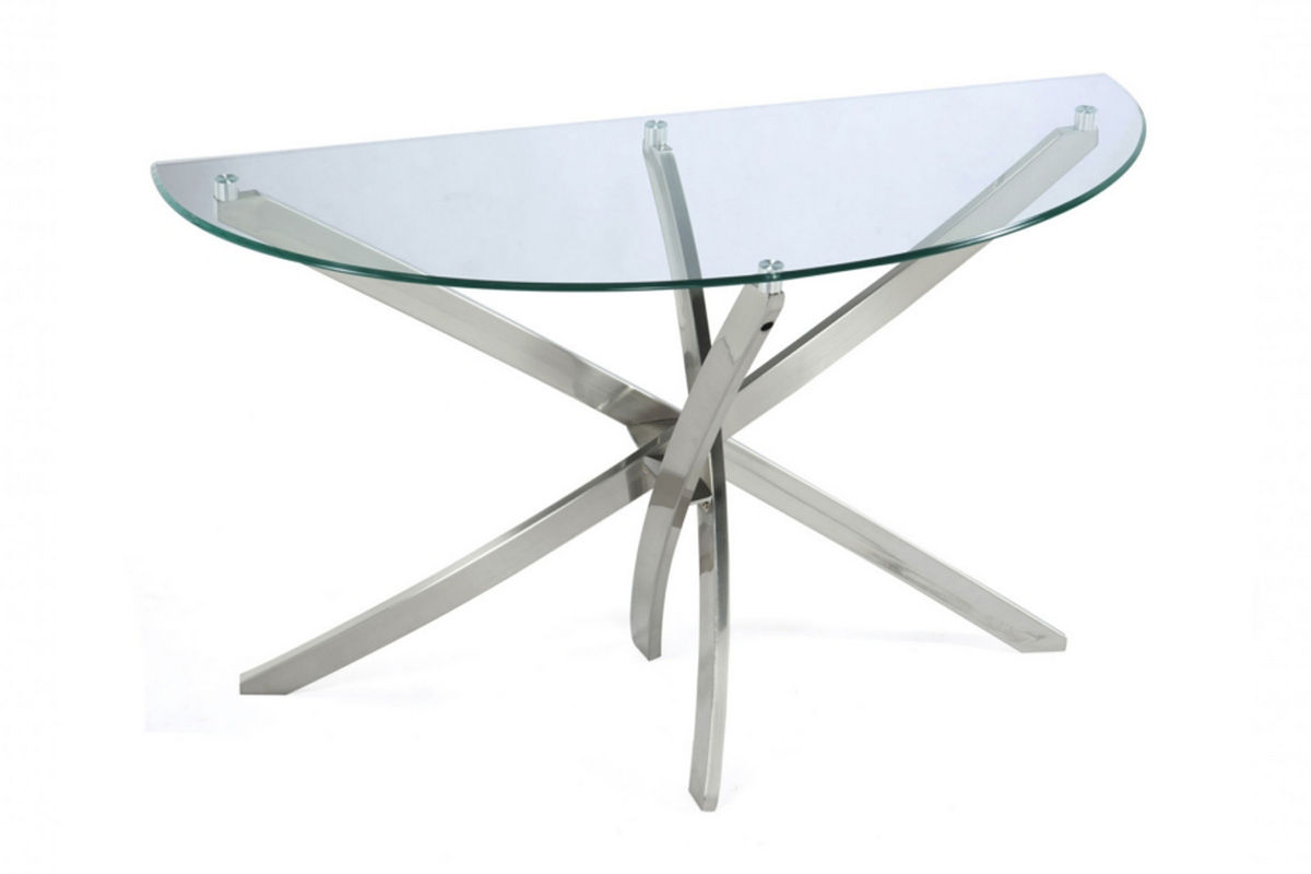 brushed nickel and glass end table at gardner