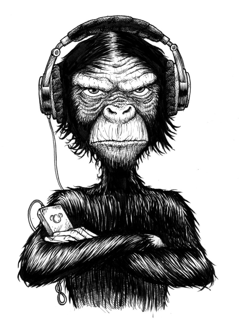 Book illustration Monkey Hear no evil