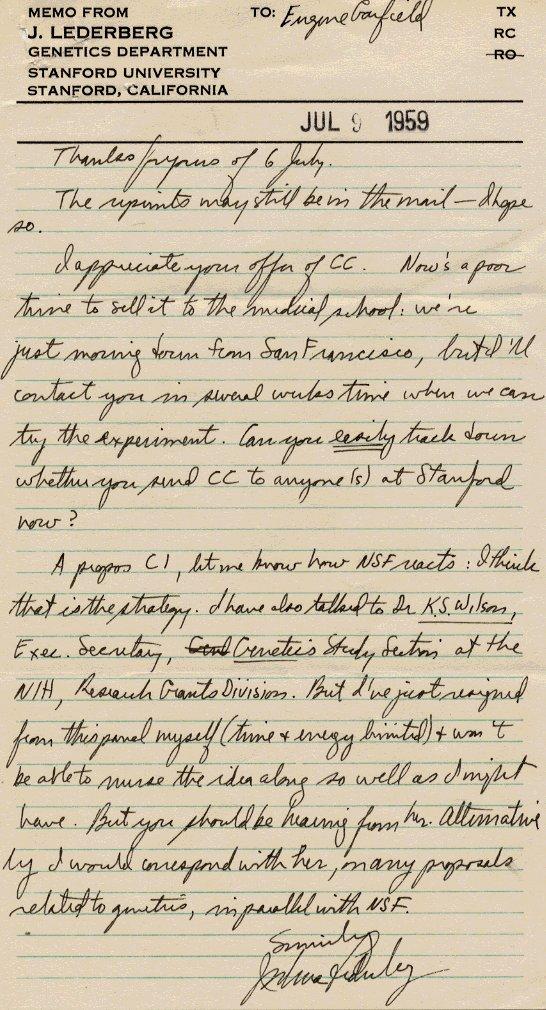 MEMO of July 9, 1959 from DrJLederberg to DrE Garfield