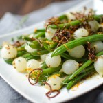 Orange Dijon Haricot Verts with Crispy Shallots | Garlic + Zest