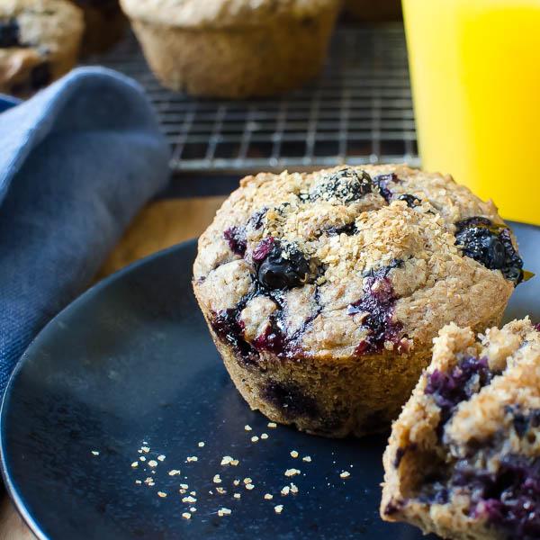 Cinnamon Blueberry Bran Muffins | Garlic + Zest