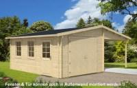 Holzgarage mit Carport 44 ISO - A-Z Gartenhaus GmbH
