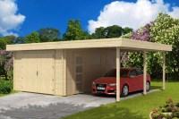 Flachdach Holzgarage mit Carport 44 ISO Holzgarage mit ...