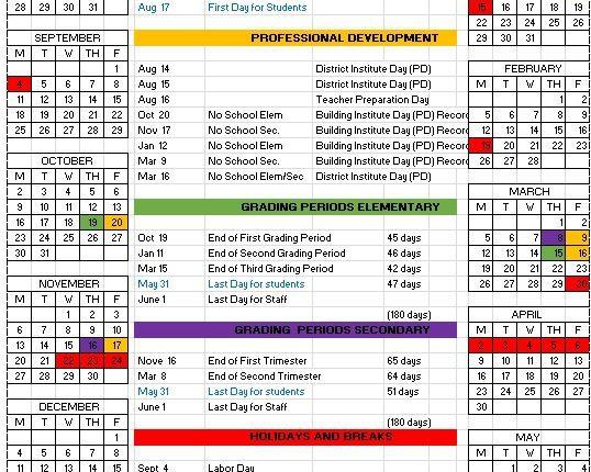 2017-18 School Year Calendar Available Now! \u2013 Gary Community
