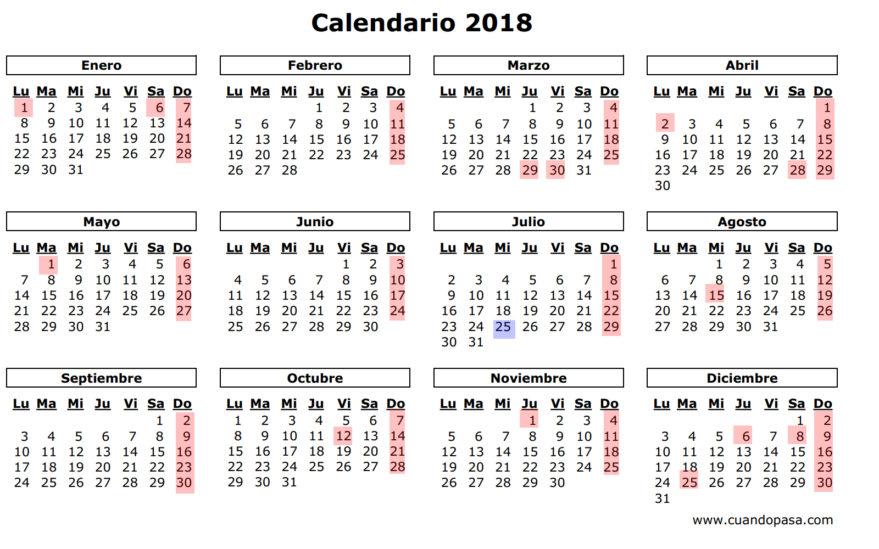 Así será el calendario laboral de 2018 (y el de 2019)